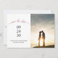 Modern Rose Gold Script Wedding Photo Save The Date