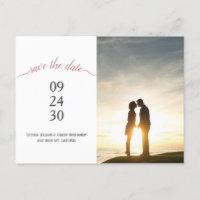Modern Rose Gold Script Wedding Save Date Photo Announcement Postcard