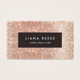 Modern Rose Gold Sequin Beauty Salon Brown Plaque Business Card