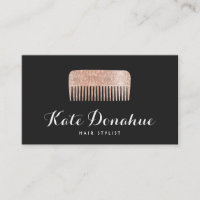 Modern Rose Gold Sequin Comb Hair Stylist Salon Business Card