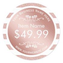 Modern Rose Gold Stripes Price Tag