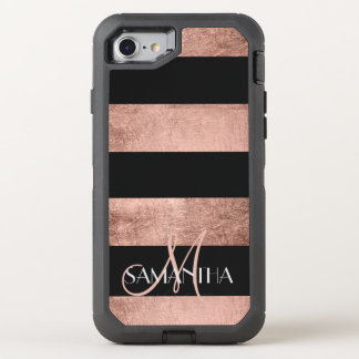 Modern rose gold stripes stylish OtterBox defender iPhone 7 case