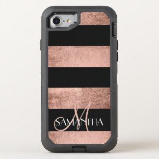 Modern rose gold stripes stylish OtterBox defender iPhone 8/7 case