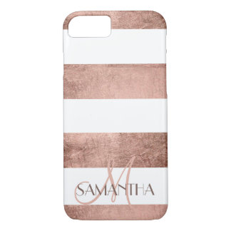 Modern rose gold stripes stylish personalized iPhone 8/7 case