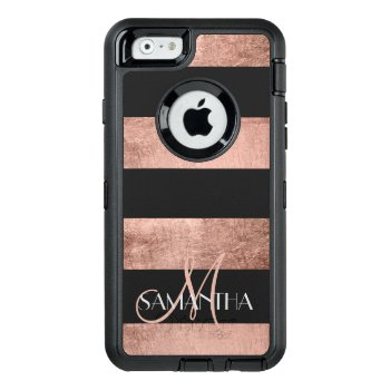 Modern Rose Gold Stripes Stylish Personalized Otterbox Defender Iphone Case by girly_trend at Zazzle