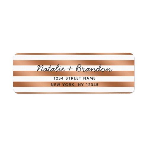 Modern Rose Gold Stripes Wedding Return Address Label