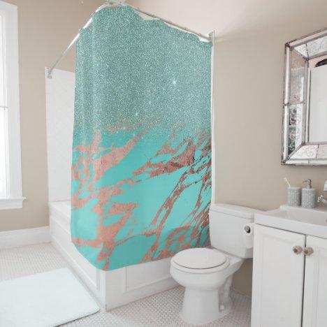 Modern Rose Gold Teal Marble Glitter Gradient Shower Curtain