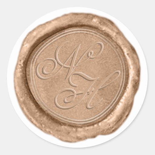 Modern Rose Gold Wax Seal Monogram Wedding Sticker