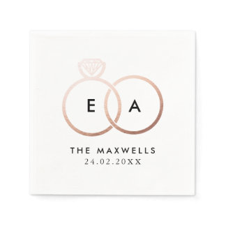 Modern Rose Gold Wedding Rings Cocktail Napkin