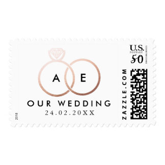 Modern Rose Gold Wedding Rings Invitation Stamp