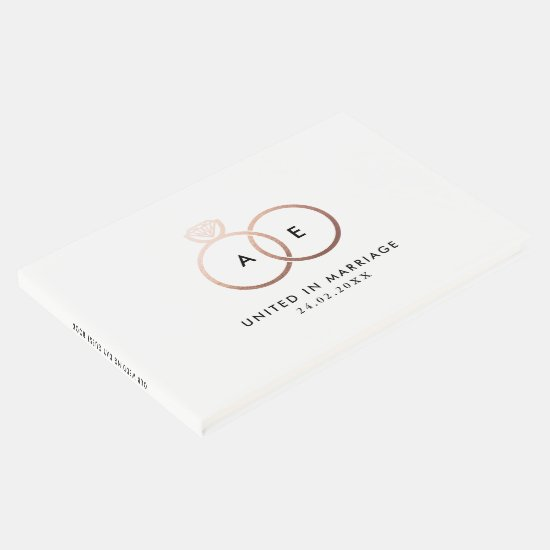 Modern Rose Gold Wedding Rings Monogram Guestbook
