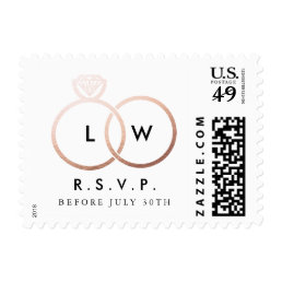 Modern Rose Gold Wedding Rings RSVP Reply Stamp