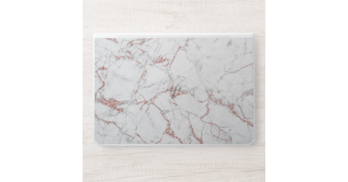 Modern Rose Gold White Marble Background Hp Laptop Skin Zazzle Com