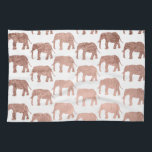 "Modern rose gold wild elephants pattern hand towel<br><div class=""desc"">A simple,  stylish and modern animal pattern featuring faux rose gold foil wild elephants silhouette on a fully customizable color background.</div>"