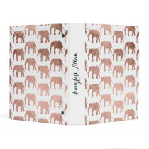 Modern rose gold wild elephants pattern mini binder