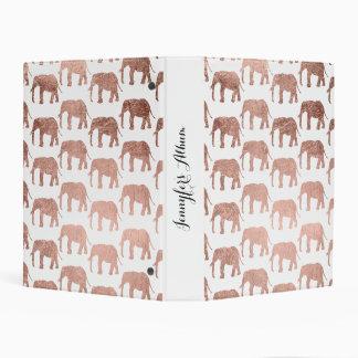 Modern rose gold wild elephants pattern mini binder
