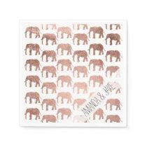 Modern rose gold wild elephants pattern napkin