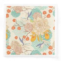 Modern Rose Peony Flower Pattern Paper Dinner Napkin