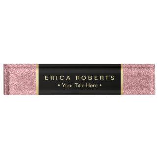 Modern Rose Pink Glitter Elegant Black Label Desk Name Plate