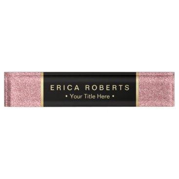 Lawyer Themed Modern Rose Pink Glitter Elegant Black Label Desk Name Plate