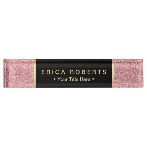 Modern Rose Pink Glitter Elegant Black Label Desk Name