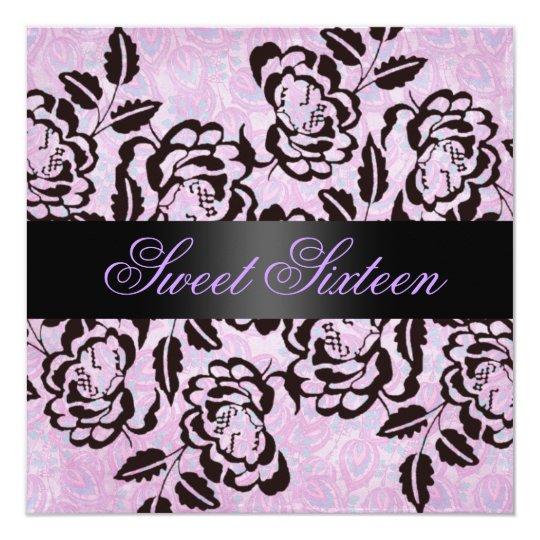 Modern Rose Sweet 16 Purple Birthday Invite