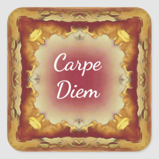 Modern Rose Yellow 'Carpe Diem' Artistic Pattern Square Sticker