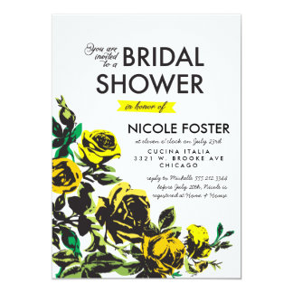 Modern Roses Bridal Shower in Yellow Card
