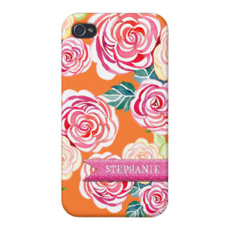 Modern Roses Circle Flowers Mod Stylish Cool Chic Cases For iPhone 4