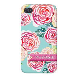 Modern Roses Circle Flowers Mod Stylish Cool Chic iPhone 4/4S Covers