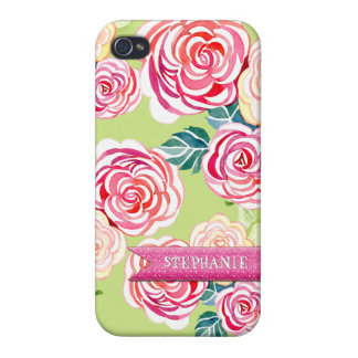 Modern Roses Circle Flowers Mod Stylish Cool Chic iPhone 4 Cover