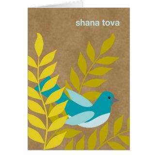 Modern Rosh Hashanah Blue Bird on Kraft Paper Look Greeting Card