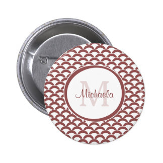 Modern Rosy Brown White Scallops Monogram and Name Pinback Button