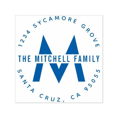 Modern Round Monogram Family Name Initials Address Self_inking Stamp