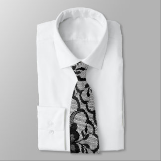 Modern Royal Black White Vintage Lace Tie