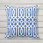 "Modern Royal Blue and White Imperial Trellis Outdoor Pillow<br><div class=""desc"">Add style to your home&#39;s decor with a beautiful,  chic modern royal blue and white imperial trellis throw pillow.</div>"