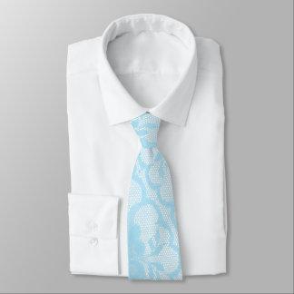 Modern Royal Blue Sky White Lace Neck Tie