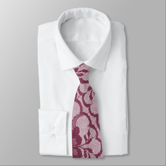 Modern Royal Bordeaux Wine White Lace Neck Tie