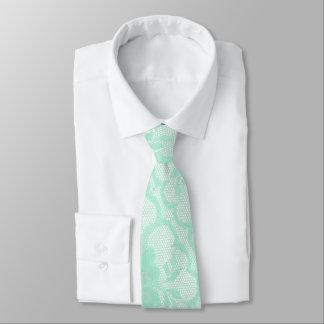 Modern Royal Mint Pastel White Lace Tie