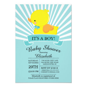 Rubber ducky baby shower invitations cute baby shower invitations modern rubber duck boys baby shower invitation 5 filmwisefo Image collections