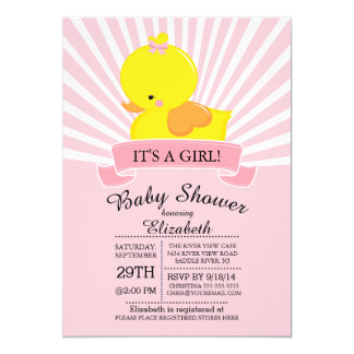 Modern Rubber Duck Girls Baby Shower Invitation