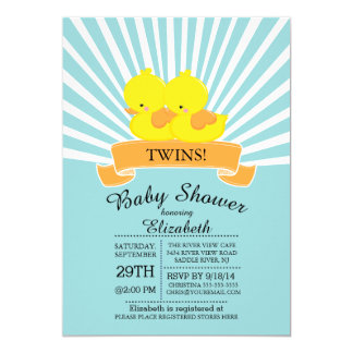 Modern Rubber Duck Twin Baby Shower Invitations