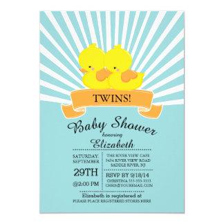 "Modern Rubber Duck Twin Baby Shower Invitations 5"" X 7"" Invitation Card"