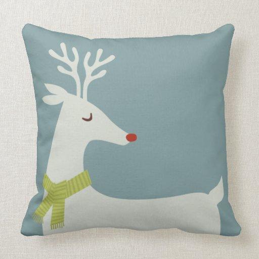 Modern Christmas Pillow : Modern Rudolph Reindeer Holiday Throw Pillow Zazzle