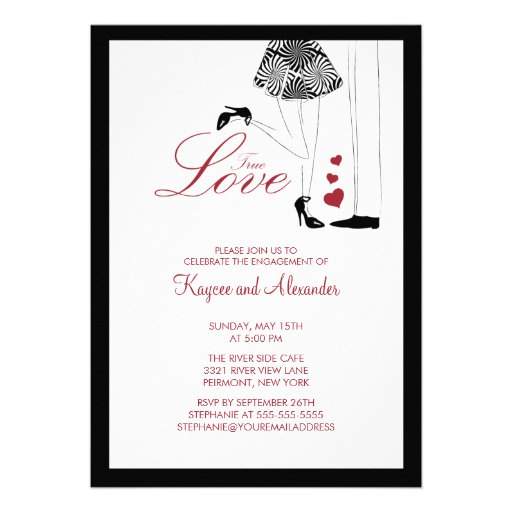 Modern rue Love Couple Engagement Invitations