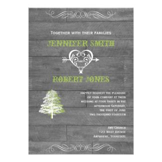 Modern Rustic Barn Wood Wedding Invitation
