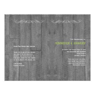 Modern Rustic Barn Wood Wedding Program Flyers