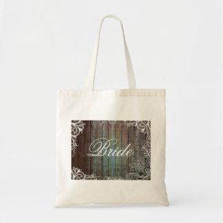 modern rustic barnwood lace bride tote bag