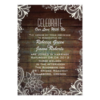 modern rustic barnwood lace country wedding invitations