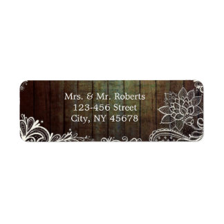modern rustic barnwood lace country wedding return address labels